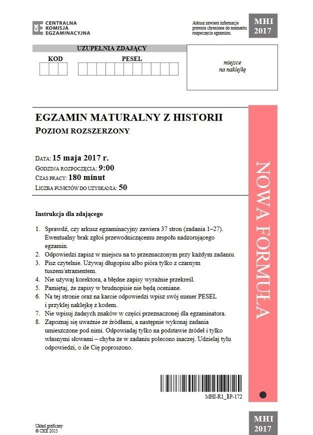 Matura historia 2017. Odpowiedzi i arkusze maturalne. Historia rozszerzona i podstawowa