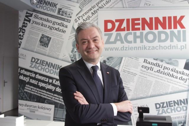 Robert Biedroń, lider partii Wiosna i kandydat Lewicy na prezydenta, w redakcji Dziennika Zachodniego w Katowicach