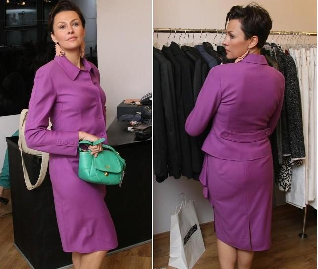 Anna Popek przymierza w kieleckim designer outlecie Incognito, wełniany komplet od Valentino, któr w normalnym butiku tego domu mody kosztuje około... 15 tysięcy złotych, zaś w kieleckim outlecie około 3,7 tysiąca złotych.