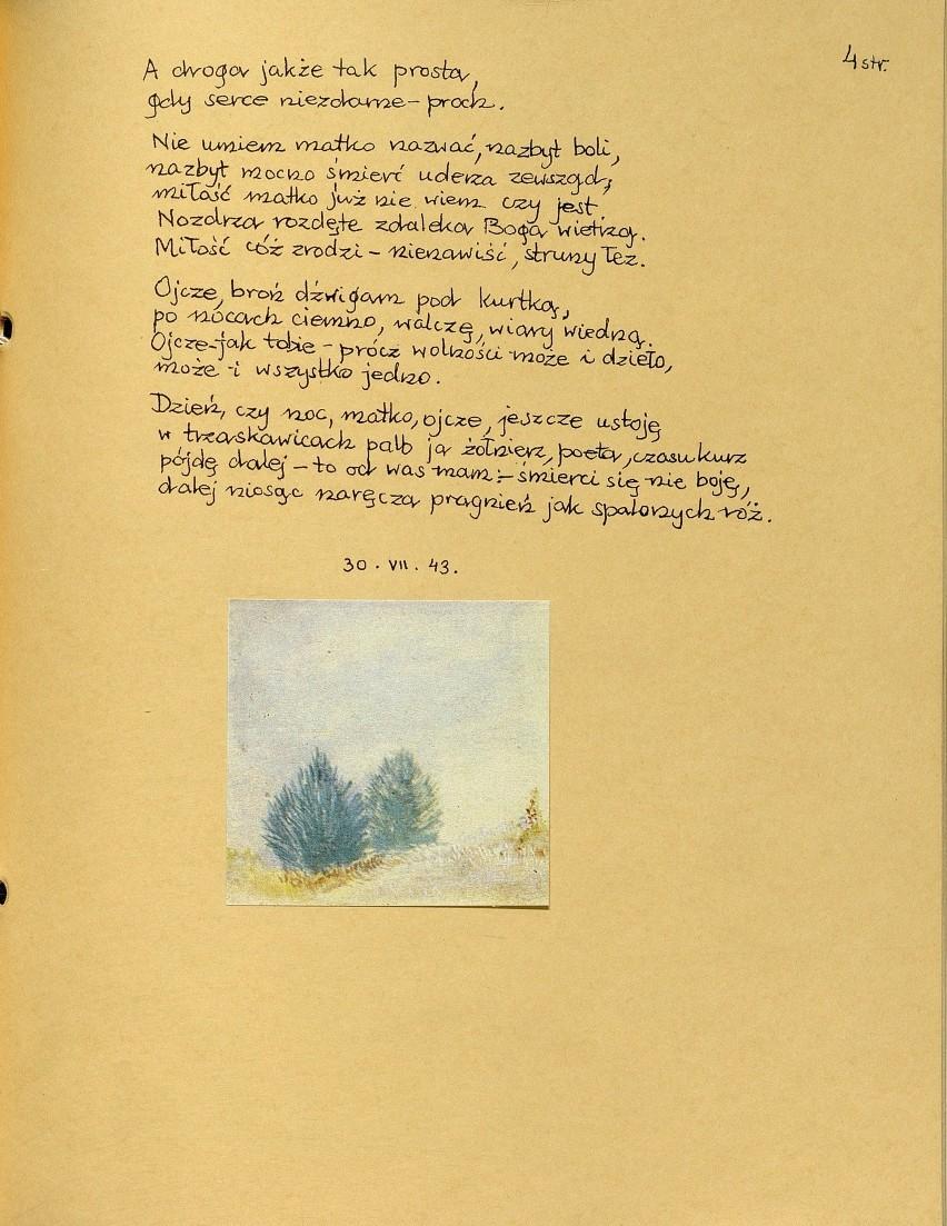 K.K. Baczyński - reprint, fragment wiersza Rodzice