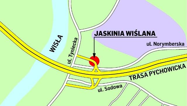 Węzeł drogowy w ramach budowy Trasy Pychowickiej zaplanowano w miejscu Jaskini Wiślanej i kamieniołomu Księża Góra