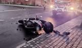 Krasnosielc. Wypadek z udziałem motocyklisty. Zawiniła 47-letnia mieszkanka gminy Krasnosielc. 17.04.2021. Zdjęcia