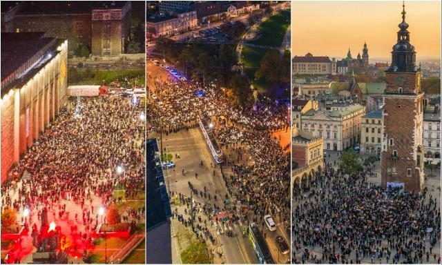 Protest kobiet w Krakowie przybierają różną formę. O ich skali najlepiej świadczą zdjęcia z powietrza.