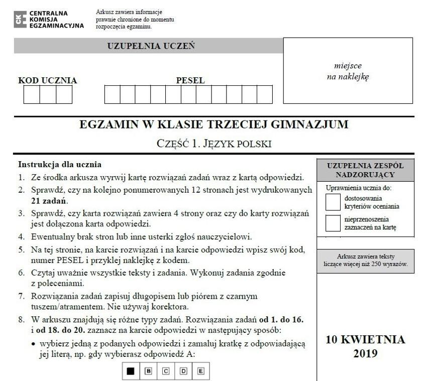Egzamin gimnazjalny 2019 CKE. Język polski (cz....