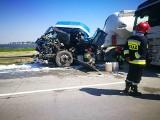 Reanimacja na A4 po wypadku ciężarówek. Droga zablokowana [ZDJĘCIA]