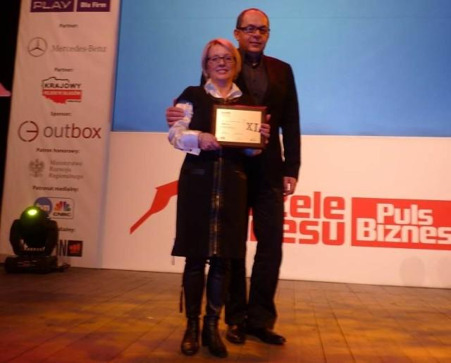 Małgorzata i Waldemar Kempińscy, współwłaściciele kieleckiej firmy Jawex Szumen podczas tegorocznej gali Gazele Biznesu w Krakowie.