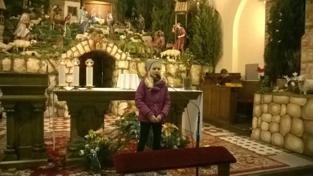 Uczestnikom nabożeństwa bardzo podobał się śpiew uczniów z Ciasnej. Na zdjęciu występ Franziski Ochmann.