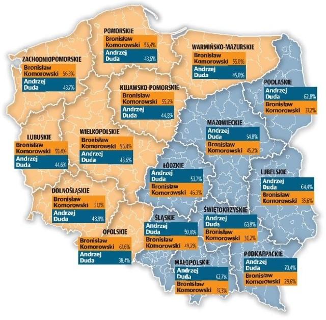 Podział głosów w województwach