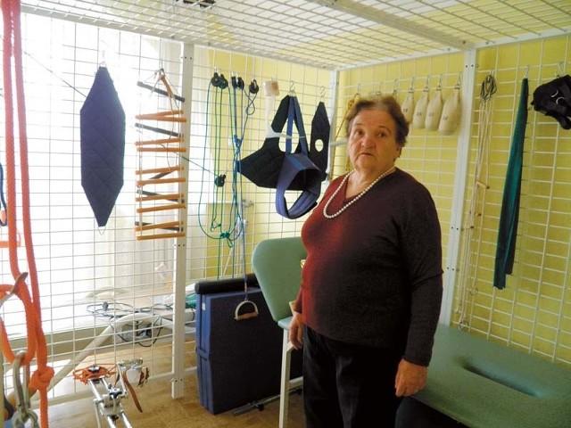 Obecnie tak wygląda sala rehabilitacyjna w hospicjum, urządzona w ciasnej klitce – dawnym gabinecie. Założycielka placówki Teresa Steckiewicz chce rozbudować siedzibę i stworzyć nową salę.