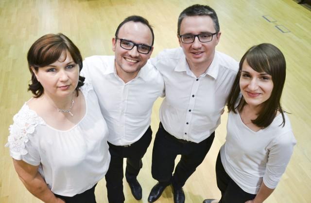 Zespół Ensemble QuattroVoce. Od lewej: Marta Wróblewska, Paweł Pecuszok, Przemysław Kummer, Aleksandra Pawluczuk