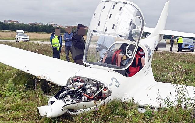 Wypadek małego samolotu w Katowicach na lotnisku Muchowiec.