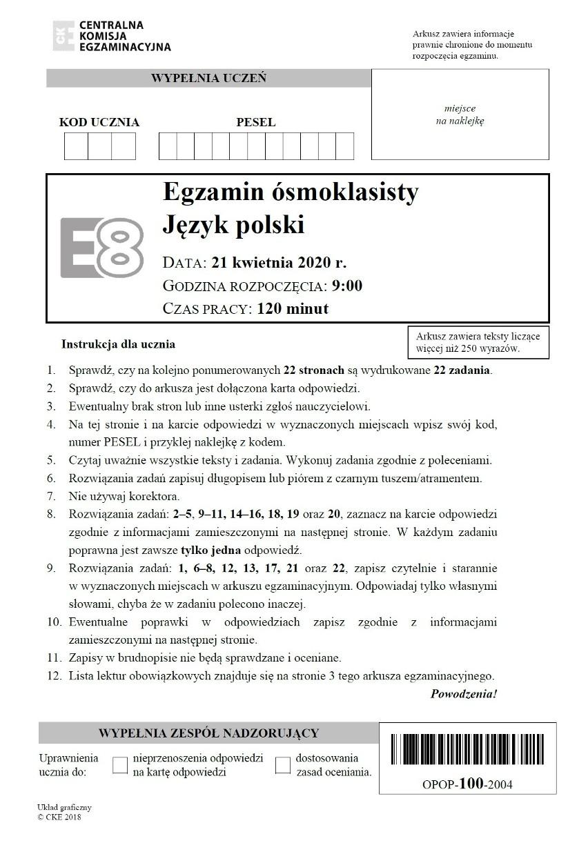 Egzamin ósmoklasisty 2020. We wtorek 16.06.2020 uczniowie pisali test z języka polskiego. Był trudny? Opinie uczniów i nauczycieli