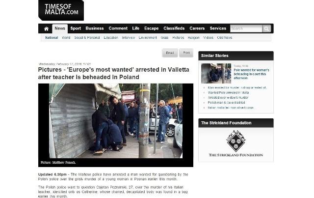 Informacja o zatrzymaniu Kajetana P. odbiła się szerokim echem w maltańskich mediach