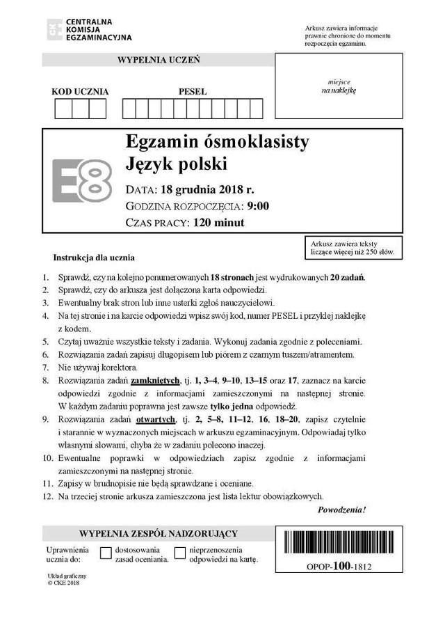 Próbny Egzamin ósmoklasisty CKE - POLSKI 18.12.2018 - ARKUSZE + ODPOWIEDZI
