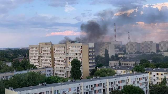 Pożar przy skrzyżowaniu ul. Zachodniej i Lubińskiej na Szczepinie