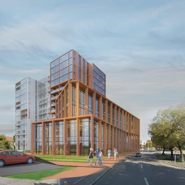 Przy ul. Słowackiego ma powstać budynek mieszkalny z funkcją biurową i handlową. To jego wstępna koncepcja.