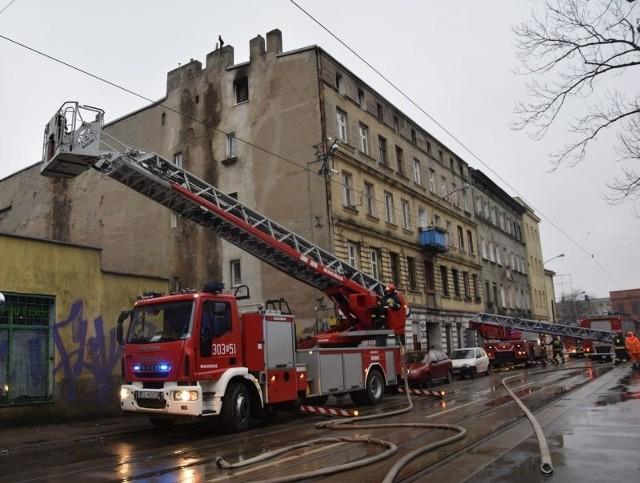 Śmiertelny pożar w kamienicy przy ul. Przybyszewskiego 5.