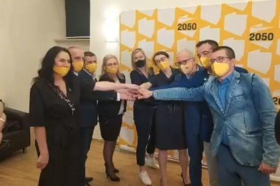 Członkowie Polska 2050 podczas konferencji w Zamku.