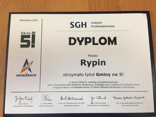 Rypin znalazł się w prestiżowym gronie 91 samorządów, które otrzymały najwięcej punktów