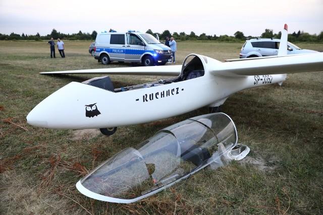 Wypadek szybowca na lotnisku w Piotrkowie