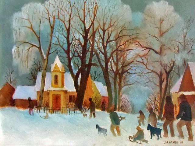 Obrazy Witalisa Sarosieka na ścianach biblioteki