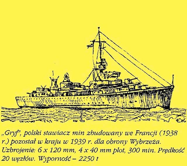 Stawiacz min Gryf zatonął 3 września 1939 r. w porcie w Helu po ataku niemieckiego lotnictwa