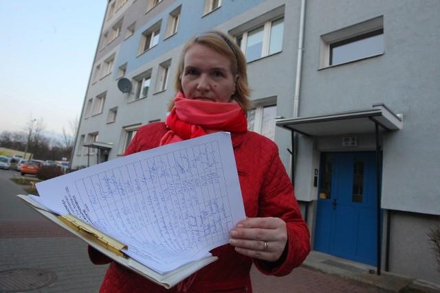 Pani Mirosława Rogowska ze SM Winogrady zbierała wczoraj podpisy na osiedlu Wichrowe Wzgórze