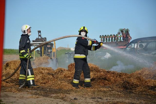 Do dużego pożaru doszło w piątek (22 maja) w miejscowości Wielowiczek, gmina Sośno pow. sępoleński.Paliło się wiata jednego z pomieszczeń gospodarczych. W środku przebywało ok. 40 cielaków. Zwierzęta zostały ewakuowane przed przyjazdem strażaków - informuje nas kpt. Krzysztof Brzozowski, Zastępca Dowódcy JRG.Obok znajdowała się ferma drobiu oraz zagroda dla krów. Żadne zwierzę nie ucierpiało.Akcja była trudna z powodu słomy i sporego zadymienia. Z ogniem walczyło 10 zastępów straży pożarnej (ok. 30 strażaków) z Sępólna, Więcborka, Sośna, Rogalina i Suchorączki. Straty wstępnie oszacowano na 100 tys. zł.