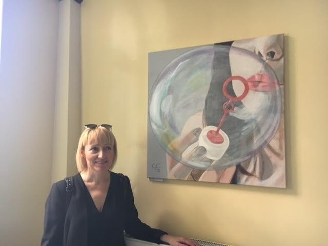 """Obraz """"Bańka"""" autorstwa dr Anna Franczuk, dermatolog, która studiuje malarstwo podyplomowo."""
