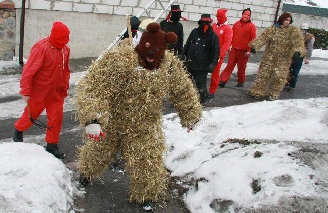 Mieszkańcy Kamionny żegnają karnawał barwnym korowodem. To Bery, czyli przebrani za niedźwiedzie dwaj mężczyźni, którym towarzyszy kilkunastu przebierańców i orkiestra.