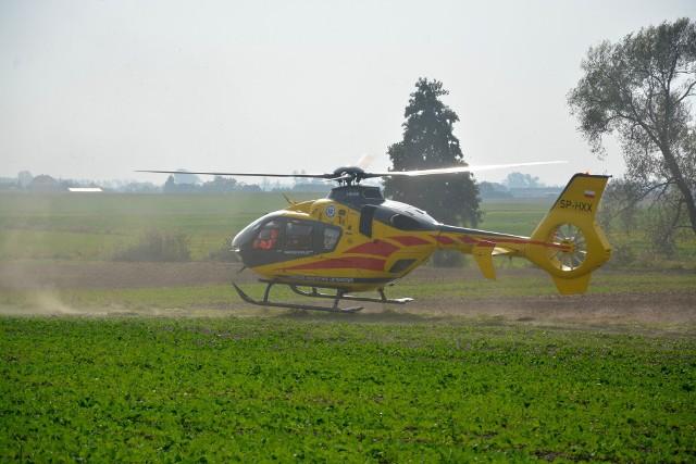 13-letniego rowerzystę z Więcborka z obrażeniami głowy zabrał do szpitala śmigłowiec Lotniczego Pogotowia Ratunkowego