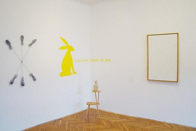 W galerii czeka żółty królik