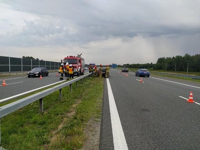 Zdarzenie drogowe na 487. kilometrze autostrady A4 w kierunku Rzeszowa