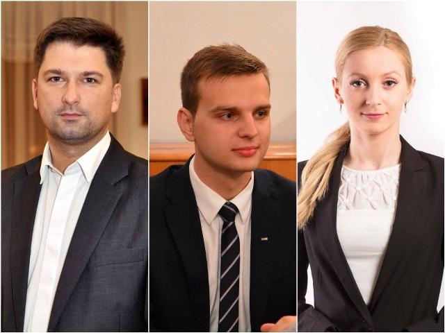 Sylwester Tułajew (PiS), Jakub Kulesza (Kukiz'15) i Agata Borowiec (PiS) - nowi lubelscy posłowie