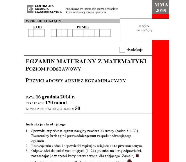 Próbna matura 2014 z matematyki - arkusz CKE - poziom podstawowy (ZADANIA, ODPOWIEDZI)