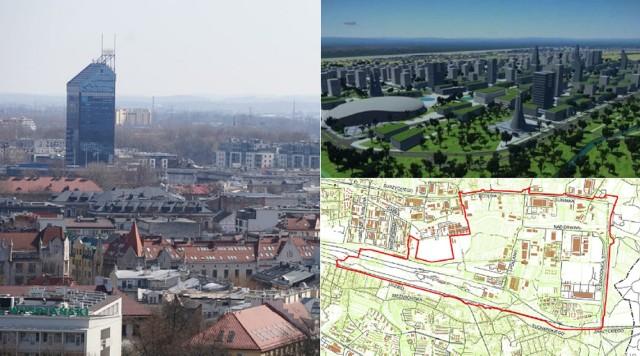 Błękitek to w tej chwili drugi najwyższy budynek w Krakowie (88 m, razem z iglicami 105). Na zdjęciach z prawej wizualizacje i projekt planu Nowego Miasta.