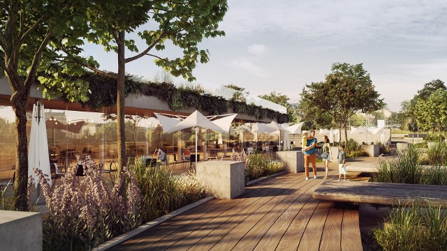 Projekt nowej plaży na bulwarze Wołyńskim przewiduje m.in. powstanie obiektu restauracyjnego