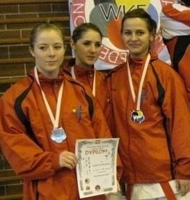 Wicemistrzynie Polski z Zarzewia (od lewej): Katarzyna Dubel, Anna Surma, Natalia Budniak.