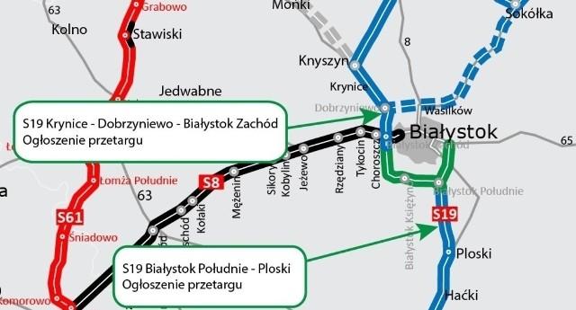 Zielonym kolorem zaznaczono przebieg południowo-zachodniej obwodnicy Białegostoku z odnogą wschodnią do Grabówki. To dwa odcinki. Pierwszy Białystok Zachód-Księżyno. Tu najtańszą ofertę złożyli 6 lipca Turcy. Firma KOLİN İNŞAAT - zaoferowała za jego budowę 560 mln zł. Stanowi to 79 proc. kosztorysu zamawiającego. Teraz GDDKiA odrzuciła tę ofertę.