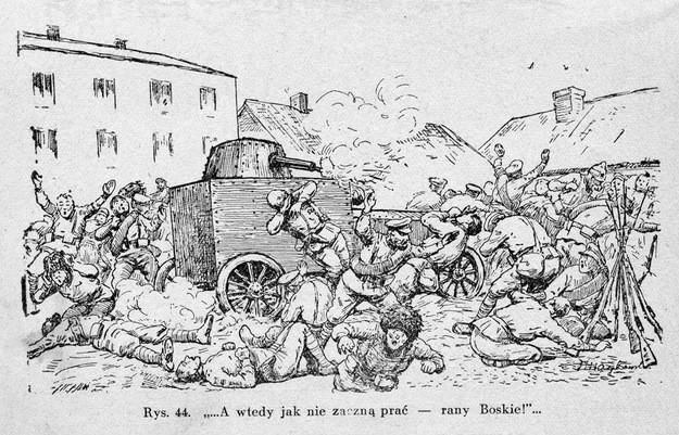 """Rycina przedstawiająca końcowe walki zagonu na Kowel - ilustracja pochodzi z książki Leonarda Żyrkiewicza """"Co każdy żołnierz o samochodzie pancernym wiedzieć powinien"""", Warszawa 1930."""