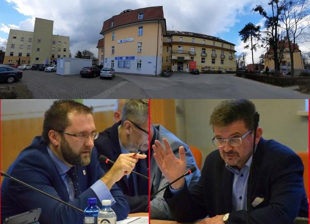 Problemy ze szpitalem powiatowym stały się w Kluczborku tematem politycznego sporu. Z lewej starosta Mirosław Birecki, z prawej były starosta Piotr Pośpiech.
