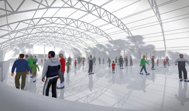 Wizualizacja płyty lodowiska z halą namiotową, jaka miałaby stanąć na terenie Miejskiego Ośrodka Sportu i Rekreacji