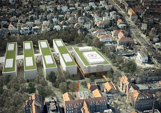 Tak ma ostatecznie wyglądać gotowy Centralny Zintegrowany Szpital Kliniczny. Po prawej ul. Marcelińska.