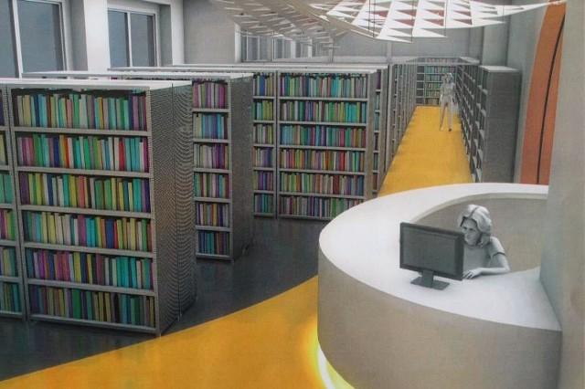 Tak będzie wyglądać jedno z głównych pomieszczeń biblioteki. Ma być przestronnie, kolorowo i przede wszystkim nowocześnie.