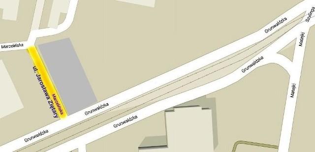 Proponowana lokalizacja ulicy Ziętary