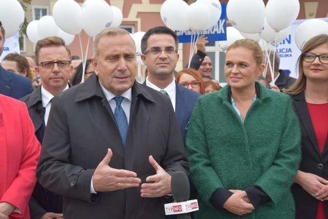 Częstochowa: Konferencja Koalicji Obywatelskiej na Placu Biegańskiego