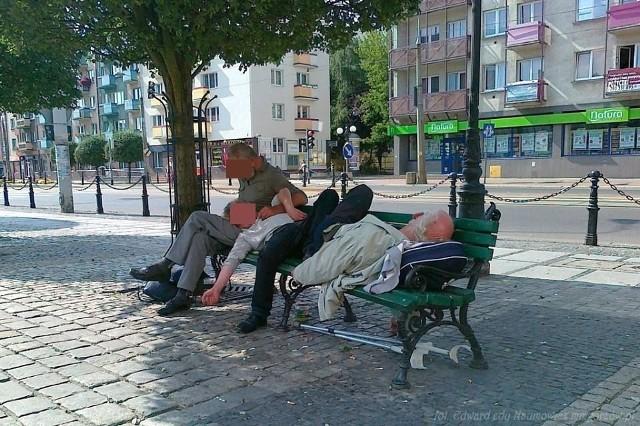 W centrum miasta Gorzowa Wlkp. menele śpiący na ławce to nie jest zaskakujący widok.