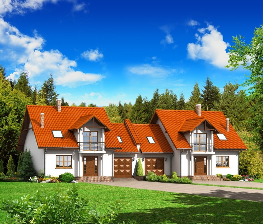 Projekt domu bliźniaka Dom w zabudowie bliźniaczej