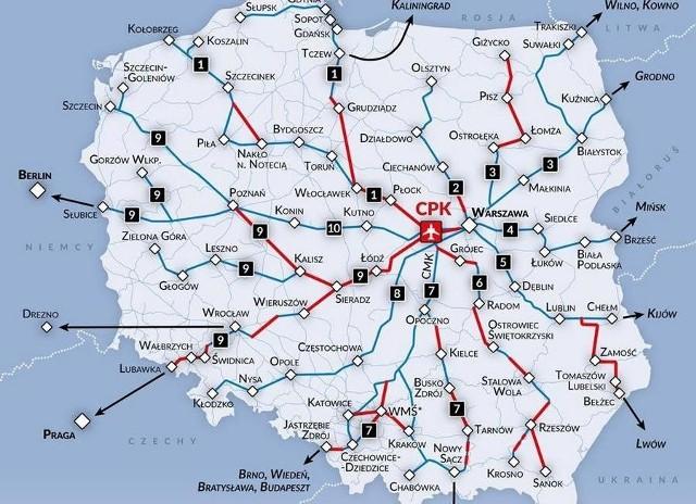 Mapa przebiegu planowanych linii kolejowych do CPK.  Kolorem czerwonym oznaczono odcinki, które zostaną wybudowane przez CPK, zaś niebieskim - te, które zostaną zmodernizowane i wybudowane przez  PKP Polskie Linie Kolejowe SA
