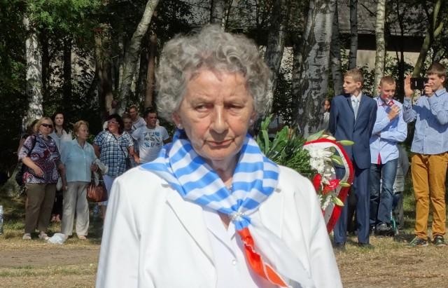 Jadwiga Meller de domo Połom podczas uroczystości rocznicowych na terenie dawnego obozu Stutthof. Wrzesień 2014